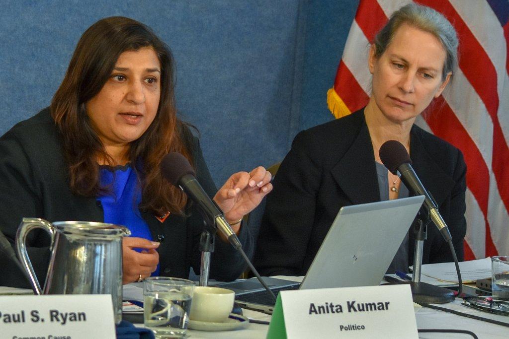 Anita Kumar (left), Politico. with Sheila Krumholz, Center for Responsive Politics.