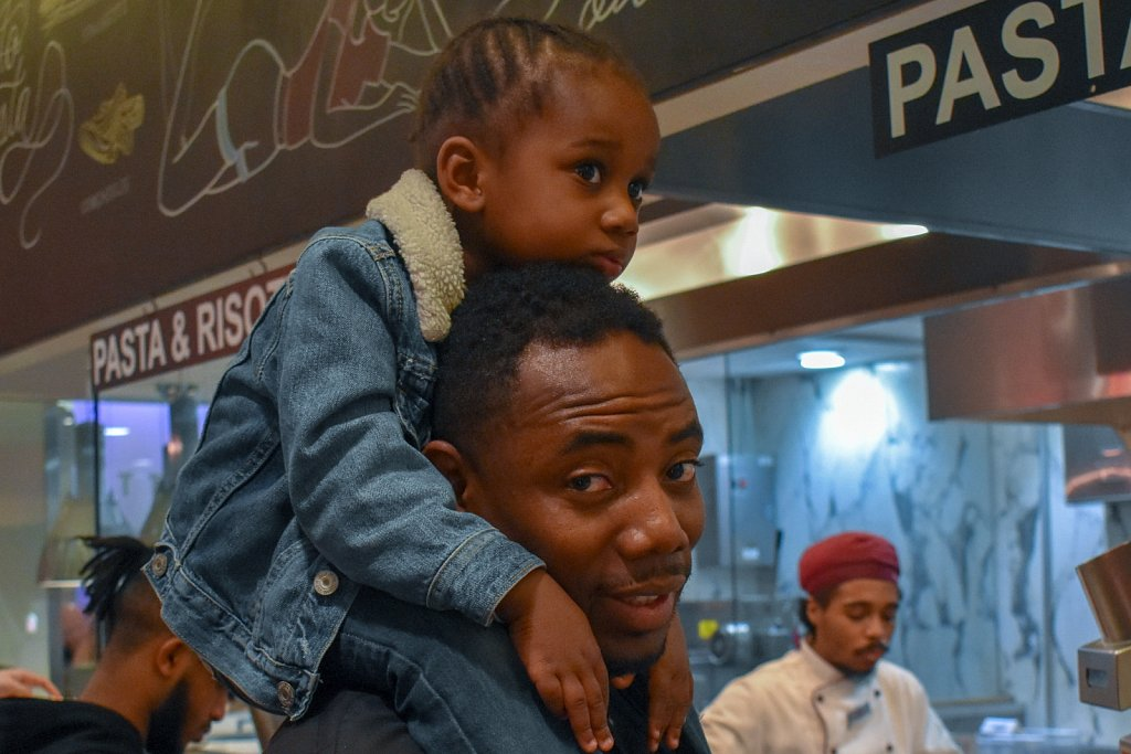 Father and daughter at Vapiano's in Chinatown, D.C.